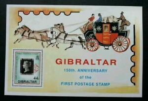 [SJ] Gibraltar 150th Anniversary Of Penny Black 1990 Carriage Horse (ms) MNH