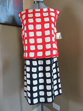 NWT MILLY 100% Silk Contrast Print Sleeveless Red, Navy Cream Dress Size 10