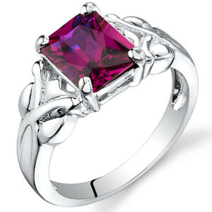 3.00 cts Radiant Cut  Ruby Ring Sterling Silver