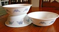 """CORELLE Country Blue Sponge Hearts Soup Cereal Salad Bowls 6.25"""" Set of 3 EUC"""