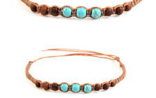 Beaded Anklet Brown Tan Turquoise Gypsy Boho Ankle Bracelet Mens Womens