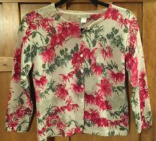 GARNET HILL Merino Wool floral Cardigan Sweater Sz Medium 3/4 Sleeves