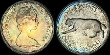1967 CANADA COUGAR SILVER 25 CENTS HIGH QUALITY COLOR TONED COIN