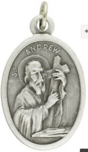 St Andrew - Patron Saint of Fishermen Medal/ Pray for Us Silver OX 1 inch