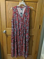 NWT Tango Red Floral Women's IZOD Linen Fit & Flare Dress XXL