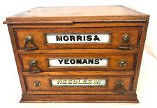 Antique Oak Shop Display / Haberdashers Cabinet MORRIS & YEOMANS' NEEDLES & Co