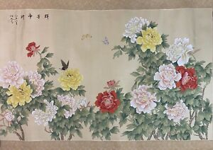 Vintage JAPANESE Floral Hand Painted Watercolor Silk Artwork Scroll Painting