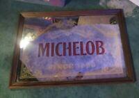 "Vtg Anheuser Busch Michelob Beer Mirror Ad Sign Wood Frame 26"" X 18"" Man Cave"