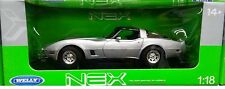 1982 Chevy Corvette Coupe T-Top Die-cast Car 1:18 Welly 10 inches Silver
