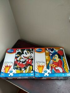 Lot of 2 Disney EXPRESSIONS Puzzles Mousing Around & Magical Moment Mickey 300 P