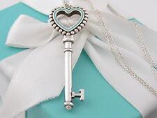 Tiffany Co Silver Large Blue Enamel Heart Bead Key Necklace Box Included