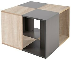 R8251-87 / Beisteller Beistelltisch Tisch Grau Anthrazit zum Couchtisch umbaubar