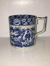 Historical Staffordshire Blue Large Porter Mug Dogs Hunting Scene Ca. 1825
