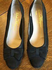 Salvatore Ferragamo Shoes Women's Suede Grosgrain Classic Bow Ballet Black 8.5 B