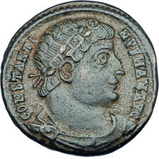 CONSTANTINE I the GREAT 330AD Authentic Ancient Roman Coin w SOLDIERS i65939