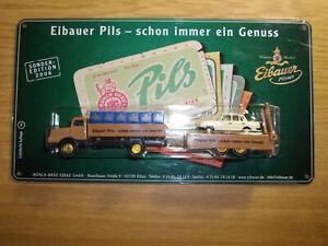 Brauerei Eibauer Truck DDR IFA H6 LKW in 1:87 auf Blechschild mit Wartburg