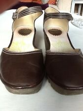 Ladies Fly Shoes Wedge , Ankle Strap . Size UK 6 .5 / EU 39. Brown Leather