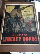 "WW1 ORIGINAL POSTER   ""Must Children Die and Mothers Plead in Vain"""