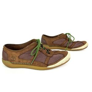 Timberland Mens Brown Leather Lightweight Mesh Boat Shoes Size 8.5