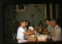 1950s red border Kodachrome Photo slide people have bbq ribs dinner