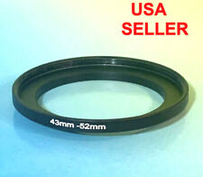 1(one) Black ADAPTER RING 43mm to 52mm 43-52mm Step Up  M43-F52 43-52 mm METAL