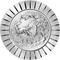 Wildschwein Bache Keiler Kühlergrill Relief Metall Plakette Medaille + Halterung