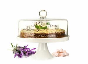 Glasglocke Kuchenglocke Käseglocke Fuß aus Porzellan Tortenplatte Kuchenplatte