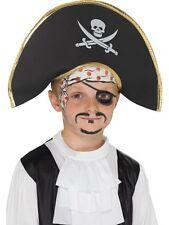 Child's Pirate Captain Hat in Black with Skull & Crossbones Smiffys Fancy Dress