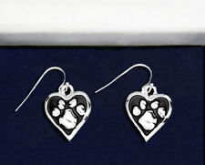 Sterling Silver-Plated Paw Print Heart Earrings - 100% of SALE BENEFITS RESCUE