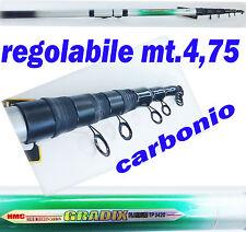 canna teleregolabile regolabile in carbonio mt 4,75 pesca trota torrente fiume