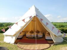 4 Season 5M Canvas Bell Tent with Zipped Floor Waterproof Camping Yurt Family