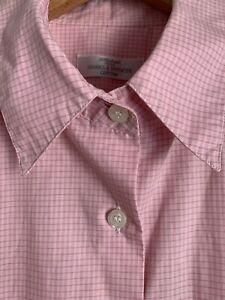 VTG 90s M&S St Michael 18 Fit 16 Shirt Blouse Pale Pink Check Cotton Flaws