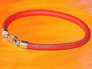 Mens / Ladies 4mm red nappa leather & sterling silver bracelet by Lyme Bay Art