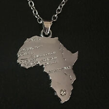 Africa Map Pendant Necklace African Country Chain Jewellery Silver Tone 1pcs
