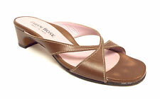 Original TARYN ROSE Size 8.5 Brown Cross Strap Slide Sandals Shoes 39
