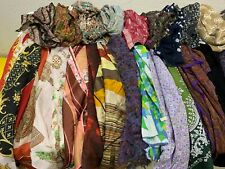 Estate accumulation of 100 Vtg Ladies Women's Neck Scarves Silk Cotton Poly