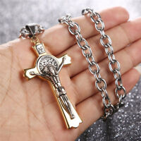 Stainless Steel Saint St St. Benedict Crucifix Cross Pendants Necklace INRI