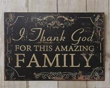 New French Country Primitive Rustic THANK GOD FOR THIS AMAZING FAMILY Wall Sign