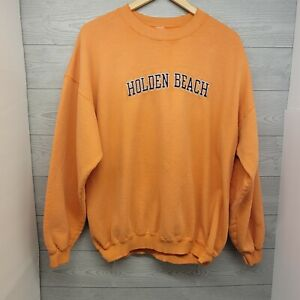 Vintage Gildan Holden Beach North Carolina Orange Sweatshirt XL