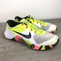 Nike Metcon 2 Womens 9.5 White Yellow Athletic Running Training Shoes