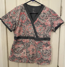 Med Couture Women's Scrub Top Grey with Pink and White Pattern Size Medium