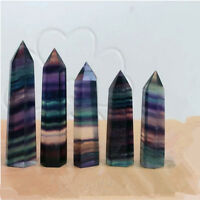 1x 50g Colorful Natural Fluorite Quartz Crystal Wand Point Healing Stone 50-70MM