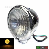 "1x Cool Bates Style 4.5"" Headlight Front Lamp For Harley Chopper Bobber Chrome"