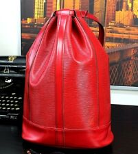 Auth LOUIS VUITTON Red Leather Tote Backpack Duffle Gym Shoulder Bag Mens EUC