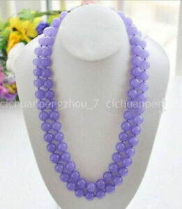 Beautiful 10mm Natural Lavender Jade Round Gemstone Beads Necklace 18-48'' AAA
