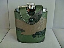 Coach Flask Camo Green Multi Leather Cover F32440 Nwt