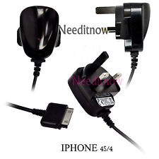 BLACK UK CE MAINS CHARGER WALL ADAPTER PLUG FOR APPLE IPHONE 4 4G 4S IPAD 3 4