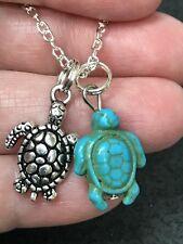"Sea Turtle Yak Bone Turquoise Charm Tibetan Silver 18"" Necklace D-1244"