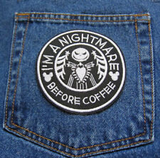 Jack Skellington NIGHTMARE Before Coffee Star Bucks Style Novelty Iron On Patch