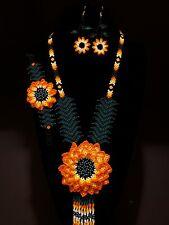 New Listinghuichol art,3 pcs mexican women's necklace big-flower set, chaquira beaded